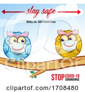 Owls Wearing Coronavirus Masks And Social Distancing