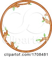 Wood And Leafy Branch Round Frame