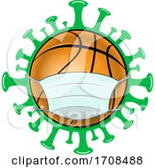 Basketball Wearing A Mask Over A Virus
