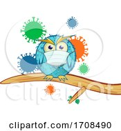 Blue Owl Wearing A Coronavirus Mask Over Viruses