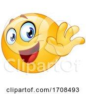 Poster, Art Print Of Yellow Smiley Emoji Waving Goodbye