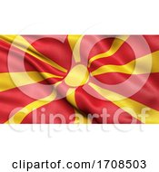 3D Illustration Of The Flag Of North Macedonia Waving In The Wind