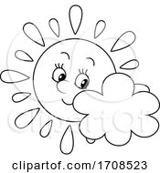 Black And White Spring Or Summer Sun Mascot With A Cloud