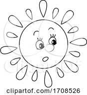 Black And White Spring Or Summer Sun Mascot