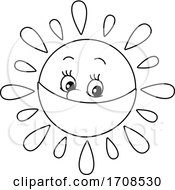 Black And White Spring Or Summer Sun Mascot Wearing A Mask