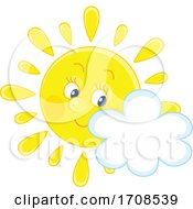 Spring Or Summer Sun Mascot With A Cloud