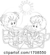 Black And White Children Playing On A Playground Merry Go Round