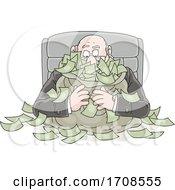 Cartoon Fat Politician Greedily Holding His Money