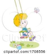 Happy Boy Watching A Butterfly On A Swing