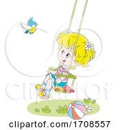 Happy Girl Watching A Bird On A Swing