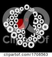 Black And White Head Silhouette On White Cogs