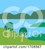 Minimalistic Nature Lake And Mountains And Trees Background