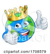 Poster, Art Print Of King Earth Globe World Mascot Cartoon Character