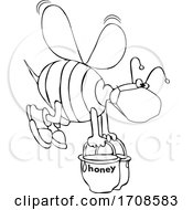 Black And White Bee Wearing A Mask And Carrying Heavy Buckets Of Honey
