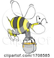 Bee Wearing A Mask And Carrying Heavy Buckets Of Honey