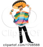 Mexican Man Playing Maracas by Vector Tradition SM