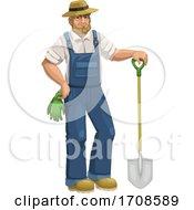 Farmer Or Gardener With A Shovel
