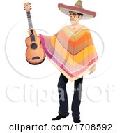 Mexican Man Holding A Guitar by Vector Tradition SM