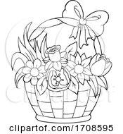 Black And White Basket Full Of Spring Flowers