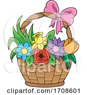 Basket Full Of Spring Flowers