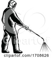 Essential Worker Wearing PPE Spraying Disinfectant Woodcut