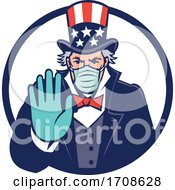 Uncle Sam Wearing Mask Stop Hand Signal Mascot