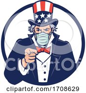 Uncle Sam Wearing Mask Pointing Mascot