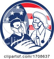 Nurse Caring For COVID 19 Patient USA Flag Circle Icon Retro