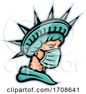Statue Of Liberty Wearing A Covid Face Mask