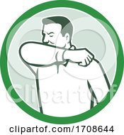 Sneezing Or Coughing Into Elbow Icon Circle Retro