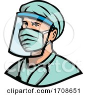 Medical Professional Wearing Face Mask Mascot