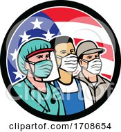 Doctor Grocer And Delivery Drivers Wearing Covid Masks Over An American Flag