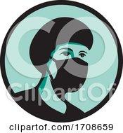 Female Nurse Wearing Black Mask by patrimonio