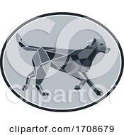 Black Labrador Low Polygon Oval