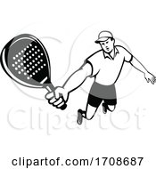 Padel Player With Racquet Retro Mascot