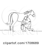 Farrier And Horse Continuous Line