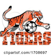 Tiger Over Text And A Soccer Ball
