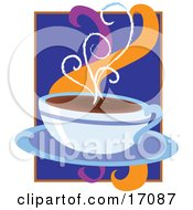 Cup Of Steaming Coffee On A Saucer Clipart Illustration