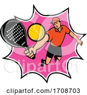 Padel Player With Racquet Jumping Bll Retro Mascot