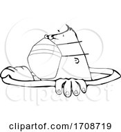 Black And White Worker Wearing A Mask And Peeping Out Of Manhole