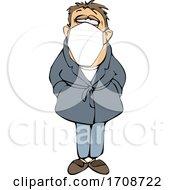 Cartoon Sick Man Wearing A Mask