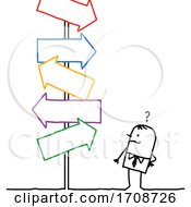 Poster, Art Print Of Stick Business Man Facing Confusing Arrow Signs