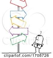 Stick Business Man Facing Confusing Arrow Signs