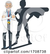 Medical Doctor Super Hero Cartoon Mascot