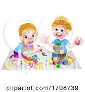 Poster, Art Print Of Children Playing With Building Blocks And Paint