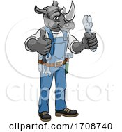 Rhino Plumber Or Mechanic Holding Spanner by AtStockIllustration