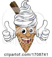 Poster, Art Print Of Ice Cream Cone Cartoon Character Mascot Thumbs Up