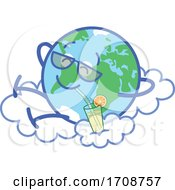 Poster, Art Print Of Relaxed Earth Mascot Taking A Break With A Beverage On A Cloud