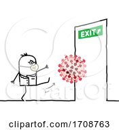 Poster, Art Print Of Stick Man Doctor Kicking The Coronavirus To An Exit