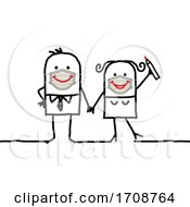 Poster, Art Print Of Stick Man Couple Wearing Smiley Face Masks